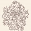 Henna Mehndi Paisley Flowers and Vines Doodle Vector - Stock Vector