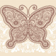 Butterfly Henna Mehndi Pasiley Doodle Vector - Stock Vector