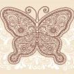 Butterfly Henna Mehndi Pasiley Doodle Vector — Stock Vector #8248653