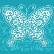 Stock Vector: Ornate Butterfly HennDoodle Vector Illustration