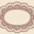 Lace Doily Henna Flower Frame Doodle Vector Border — Stock Vector #8248661