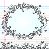 Back to School Sketchy Cloud Frame Notebook Doodles Vector — Stock Vector