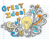 Great Idea Light Bulb Sketchy Doodle Vector — Stock Vector