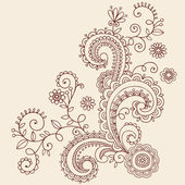 Henna Mehndi Paisley Flowers and Vines Doodle Vector Design — Stock Vector