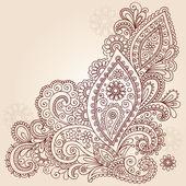 Henna Mehndi Paisley Flowers Doodle Vector Design — Stock Vector