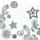 Back to School Sketchy Notebook Doodles Vector Design Elements — Vecteur