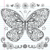 Butterfly Back to School Sketchy Notebook Doodles Vector Design Elements — Stock Vector