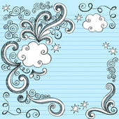 Clouds Sketchy Doodles Vector Illustration Page Border — Stock Vector