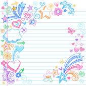 Torna a scuola quaderno abbozzato doodles vettoriale — Vettoriale Stock