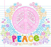 Peace Sign Flower Doodles Vector Illustration Design Elements — Stock Vector