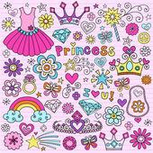 Elementi di scenografia principessa notebook doodles vettoriali icona — Vettoriale Stock