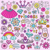 Princess Notebook Doodles Vector Icon Set Design Elements — Stockvector