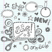 Sketchy Doodles Coupon and Scissors Doodles Vector Illustration — Vector de stock