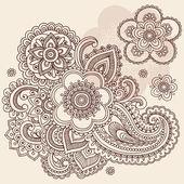 Kına mehndi desenli çiçek doodle vektör tasarımı — Stok Vektör