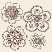 Henna Mehndi Mandala Flowers Doodle Vector Design — Stock Vector