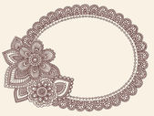 Lace Doily Henna Flower Frame Doodle Vector Border — Stock Vector