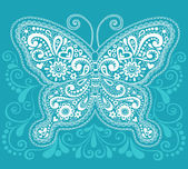 Ornate Butterfly Henna Doodle Vector Illustration — Stock Vector
