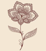 Henna Lace Flower Doodle Vector Illustration — Stock Vector