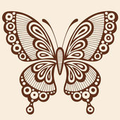Henna Doodle Butterfly Vector Design Element — Stock Vector