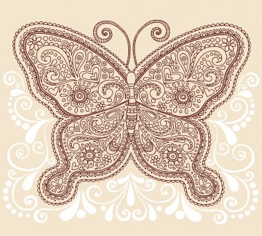 Butterfly Henna Mehndi Pasiley Doodle Vector