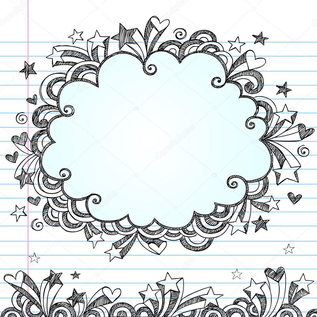 Back To School Sketchy Cloud Frame Notebook Doodles Vector