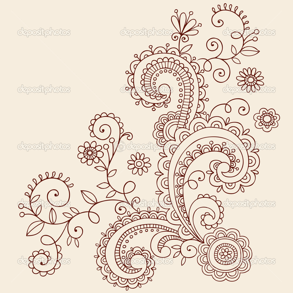 Paisley flowers and vines doodle vector design stock illustration