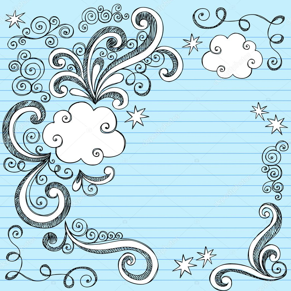Sketchy doodles vector illustration page border stock illustration