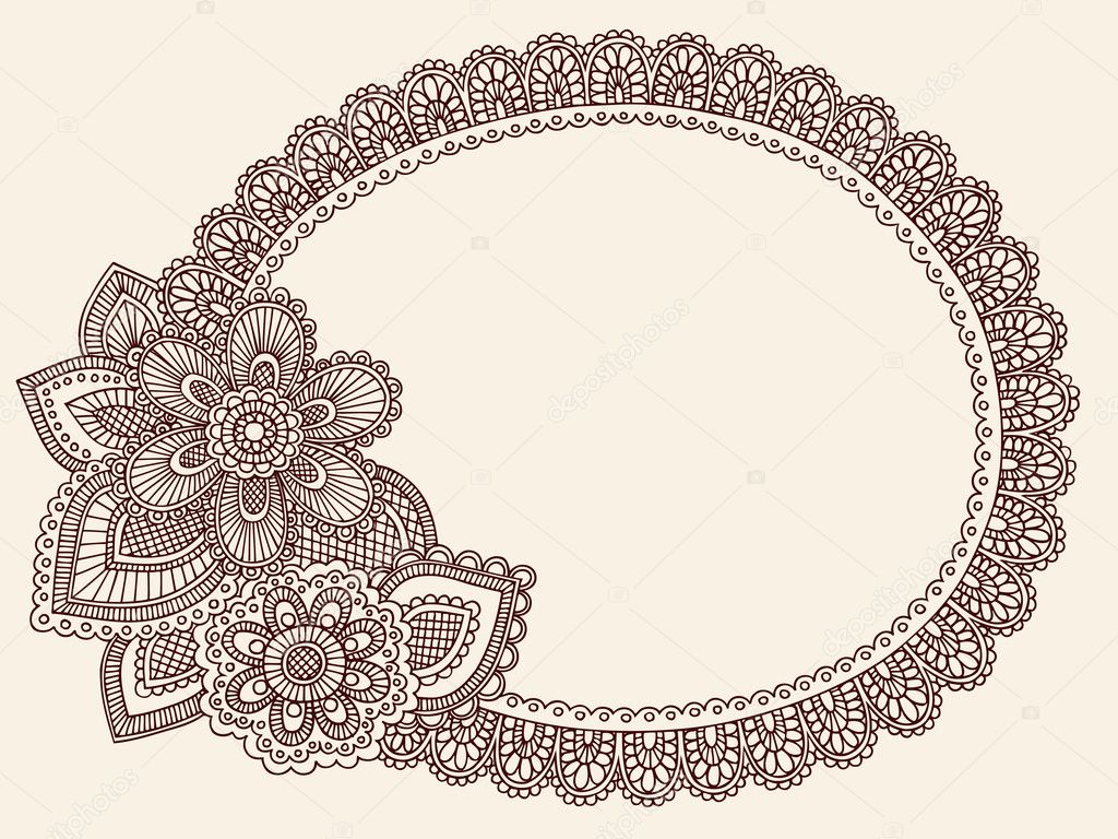 Lace doily henna flower frame doodle vector border stock