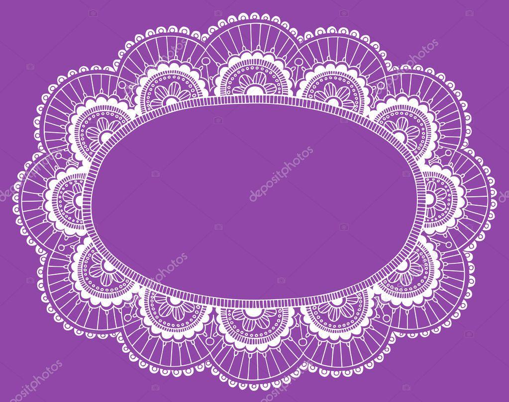 Lace doily henna flower vector illustration design - Lace Doily Henna Flower Frame Doodle Vector Border Stock Vector