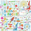 Science School Notebook Doodles Vector Icon Set — Imagen vectorial
