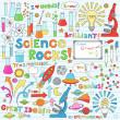 Science School Notebook Doodles Vector Icon Set — Stock Vector