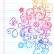 Flower Sketchy Doodles Vector Illustration — Stock Vector