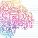 müzik Not yarım yamalak vektör çizim doodles — Stok Vektör
