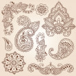 HennMehndi Paisley Flowers Doodle Vector Design Elements — Stok Vektör #8410127