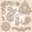 Henna Mehndi Paisley Flowers Doodle Vector Design Elements — Stock Vector #8410127