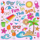 Summer Tropical Beach Vaction Notebook Doodle Vector Set — Stock Vector