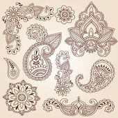 Henna Mehndi Paisley Flowers Doodle Vector Design Elements — Cтоковый вектор