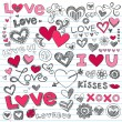 Valentine's Day Love and Hearts Sketchy Doodles Set — 图库矢量图片 #8424067