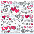 Valentine's Day Love and Hearts Sketchy Doodles Set — Stock Vector