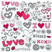 Sevgililer günü aşk ve kalpler kabataslak karalamalar set — Stok Vektör