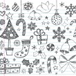 Christmas Sketchy Doodles Design Elements Set — Stock Vector
