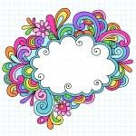 Psychedelic Cloud Speech Bubble Notebook Doodle Vector — Stock Vector