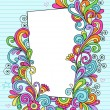 Stock Vector: Psychedelic Doodle Picture Frame Vector Design