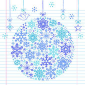 Christmas Snowflakes Ornament Sketchy Doodle — Stock Vector