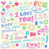 Kids Crayon Doodles Back to School Vector Illustration — Stock Vector