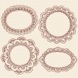 Henna Doodles Picture Frame Border Design Vector Set - Stock Vector