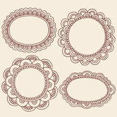 Henna Doodles Picture Frame Border Design Vector Set — Stock Vector