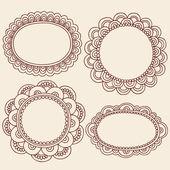 Henna Doodles Picture Frame Border Design Vector Set — Stock Vector