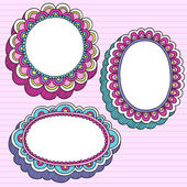 Psychedelic Doodle Picture Frame Vector Set — Stock Vector