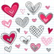 Valentine's Day HeartsvSketchy Doodles Love Set — Stock Vector
